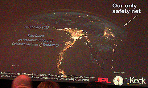 Title slide for lecture by Riley Duren at JPL, with annotation by Terry, Feb 14, 2013