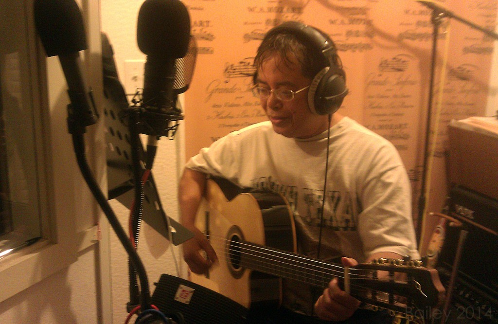 Ric Ickard recording guitar part for Terry Bailey's Tiger's Sparrow Song from Light 2.0