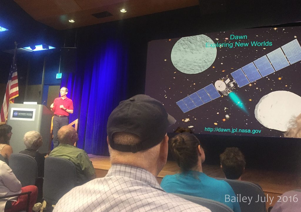 Dr. Mark Ryman lecturing on the Dawn Mission at JPL, July 14, 2016